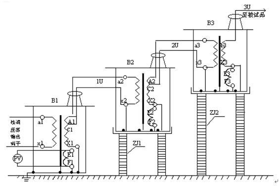 试验变压器结构示意图