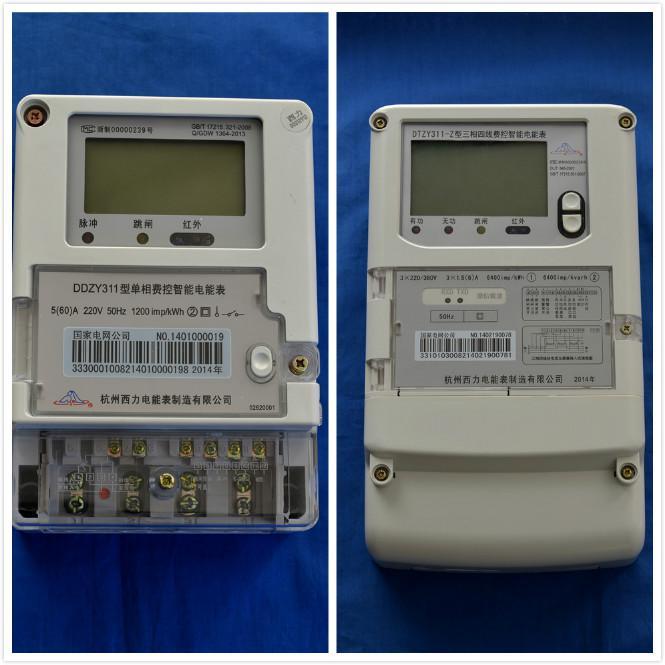 产品介绍: DTZY311-Z/DSZY311-Z型三相费控智能电能表是根据国家电网公司2013版智能电表系列新标准研制而成的新一代智能电能表,同期推出的还有一款型号为DDZY311的单相费控智能电能表。在技术上,前者采用了超大规模数字信号处理芯片、永久保存信息的存贮器、电力载波、RS485通讯接口和红外通讯、大画面宽温液晶屏和信息安全加密ESAM模块等;在功能上,具有多费率电能计量、需量测量、校时、冻结、负荷记录、远程费控、远程通讯等特点;后者只运用了上述部分技术,功能相对减弱。但两者均可满足电力