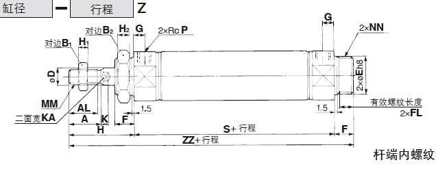 cm2b20-100 smc双作用气缸规格日本smc标准气缸图片