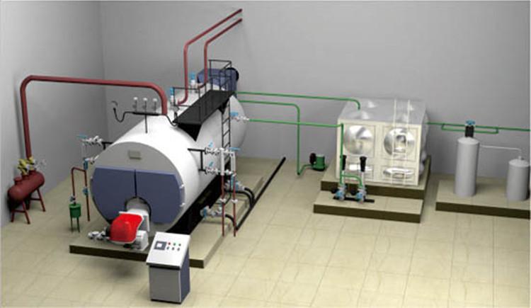 wns卧式全自动燃油燃气甲醇蒸汽锅炉为卧式快装内燃